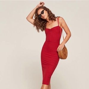 M REFORMATION Ribbed  Red Dress